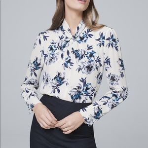 White House Black Market Floral Knotted Blouse